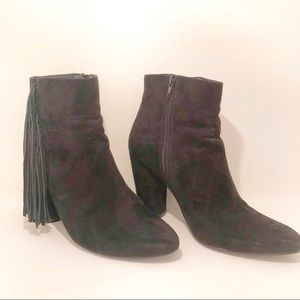 FOREVER 21 fringe cowgirl booties boots heel 10